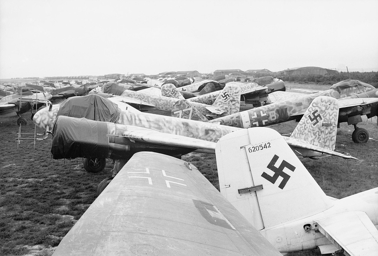 Junkers Ju 88 night fighters awaiting scrapping at Grove airfield in Denmark, 2 August 1945. CL3303.jpg