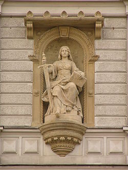 J.L. Urban, statue of Lady Justice at court building in Olomouc, Czech Republic