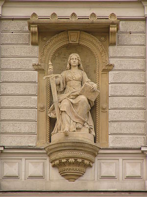 Justice - J. L. Urban, statue of Lady Justice at court building in Olomouc, Czech Republic.