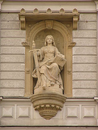 Remand (detention) - Lady Justice—allegory of justice—statue at court building in Olomouc