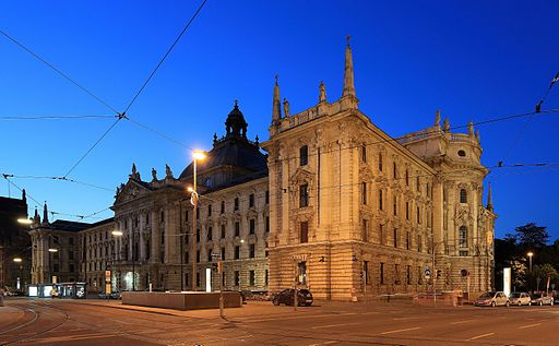 Palace of Justice, Munich, at dusk