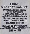 Kálvin tér 2, Sándor Baksay plaque, 2019 Kunszentmiklós.jpg