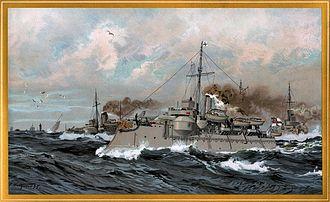Siegfried-class coastal defense ship - Painting of Heimdall and Siegfried underway