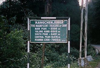 Kangchenjunga - A sign board on the last traversable road to Kangchenjunga