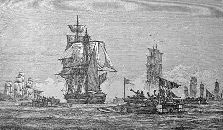 Danish gunboats seizing HMS Turbulent, 9 June 1808. Kanonbade 1808.jpg