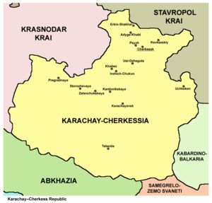 Karachay-Cherkessia - Map of the Karachay-Cherkess Republic