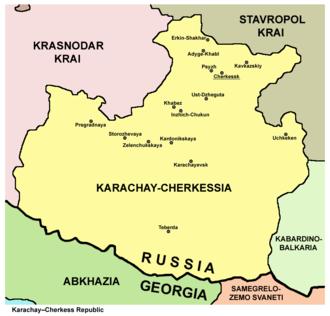 Karachay-Cherkessia - Map of the Karachay-Cherkess Republic