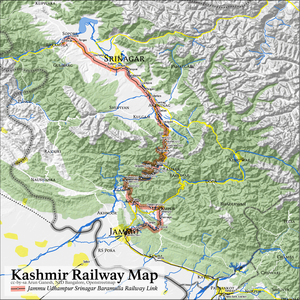Jammu–Baramulla line - A map of the Jammu-Baramulla railway line showing the Katra-Laole section