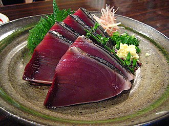 Tataki - Bonito (skipjack tuna) tataki.