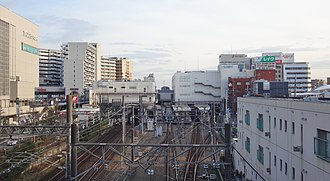 Kawagoe Station - Overall view of Kawagoe Station in February 2016, with the Tobu tracks on the left