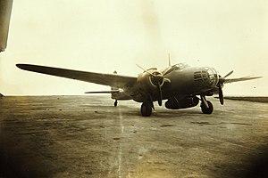 Kawasaki Ki-48 - A modified Ki-48 with a Ne-0 turbojet under the bomb bay during testing