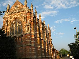 Keble Road - Keble College Chapel, viewing down Keble Road from Parks Road.