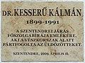 Kesserű Kálmán plaque (Szentendre Petőfi u 4).jpg