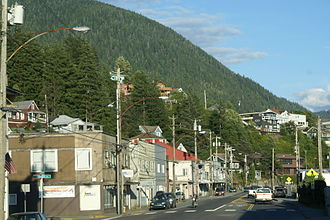 Alaska Route 7 - North Tongass Highway, looking roughly easterly as it passes through a neighborhood just beyond downtown Ketchikan.