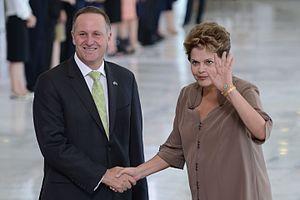 Brazil–New Zealand relations - New Zealand Prime Minister John Key visiting with Brazilian President Dilma Rousseff; 2013.
