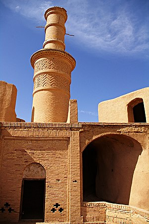 Earth structure - Old adobe minaret in Kharanagh village, Iran