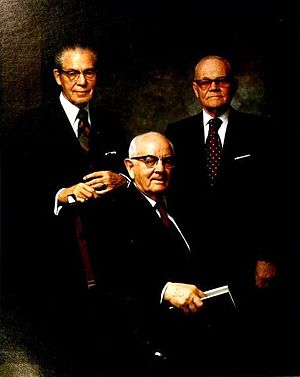 Spencer W. Kimball - Kimball with counselors N. Eldon Tanner (left) and Marion G. Romney (right).