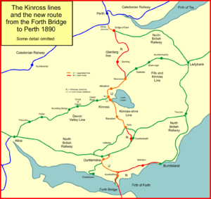 Railways of Kinross - The Kinross in 1890 when the Forth Bridge opened