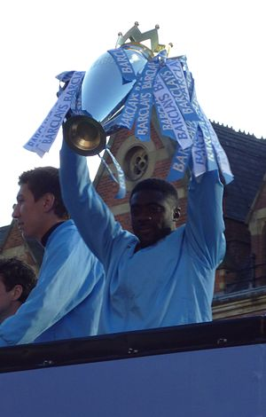 Kolo Touré - Touré celebrating Manchester City's Premier League triumph in 2012.
