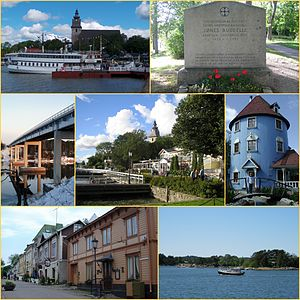 左上からNaantali's medieval stone church and SS Ukkopekka, Jöns Budde statue, Särkänsalmi bridge, the guest harbour and Old Town of Naantali, Moomin's haus in Moomin World (Muumimaailma), Naantali Old Town and Archipelago of Naantali