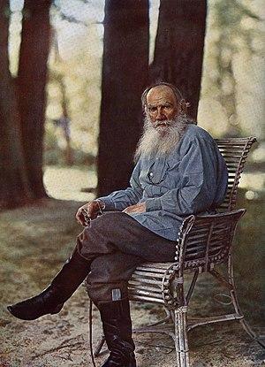 Leo Tolstoy - Tolstoy in May, 1908, four months before his 80th birthday (photographed at Yasnaya Polyana by Sergey Prokudin-Gorsky; the first colour photograph taken in Russia)