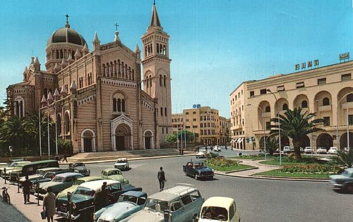 Tripoli Cathedral and the former FIAT centre (Meydan al Gaza'ir) during the 1960s. LA CATTEDRALE DI TRIPOLI 1960.jpg