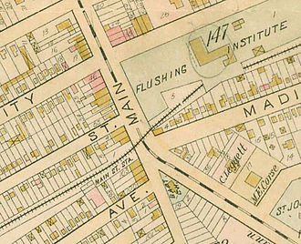 Main Street (Queens) - Map of the intersection of Main Street and Kissena Boulevard in 1891.