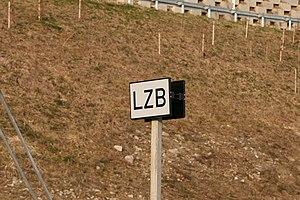 Linienzugbeeinflussung - Start of LZB sign