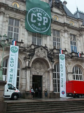 Limoges CSP - The city hall of Limoges in the colours of the team