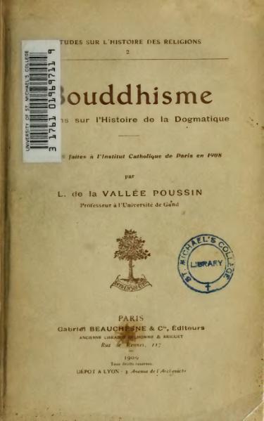 File:La Vallée-Poussin - Bouddhisme, opinions sur l'histoire de la dogmatique.djvu