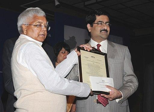 Lalu Prasad presenting the JRD Tata Corporate Leadership Award to Shri Kumar Mangalam Birla, Chairman, Aditya Birla Group, Mumbai, at the Foundation Day of All India Management Association (AIMA), in New Delhi
