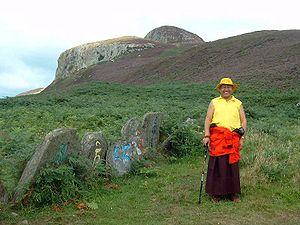 English: Lama Yeshe Losal with om mani peme hu...