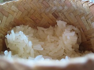 Cooked rice - Steamed Thai sticky rice in a traditional Lao rice steamer