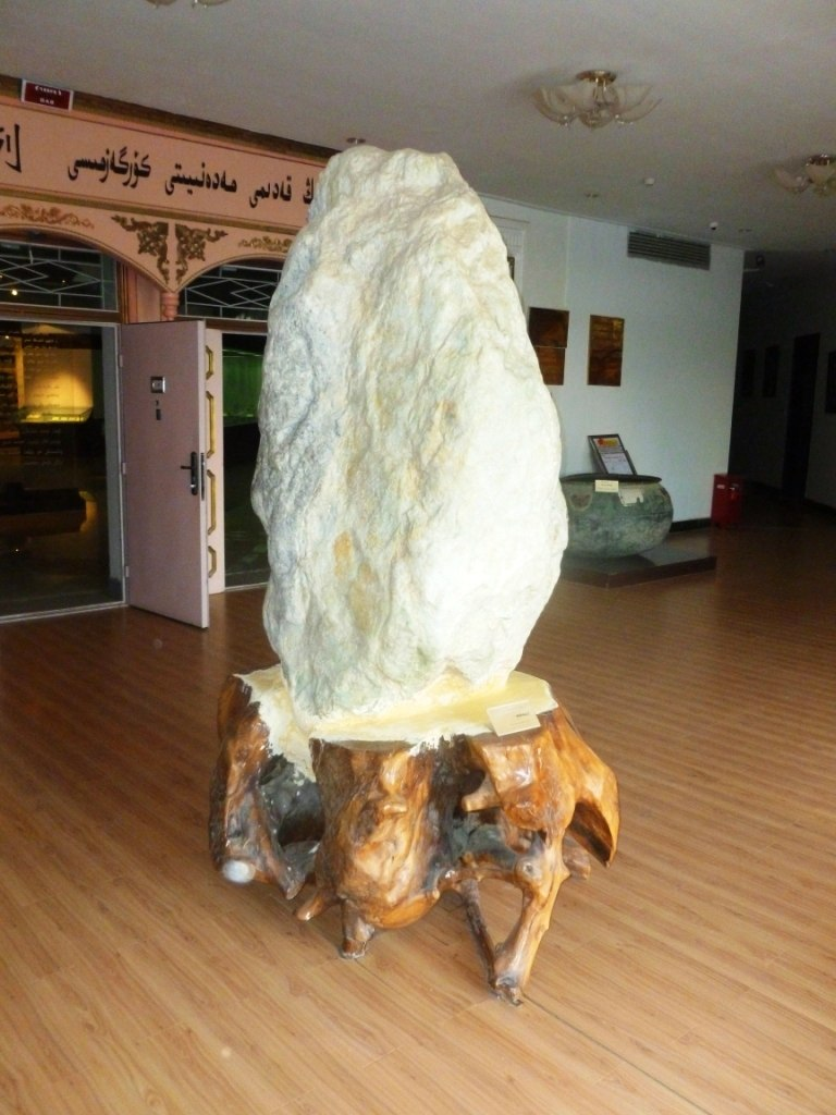 Large mutton fat jade displayed in Hotan Cultural Museum lobby