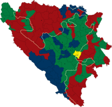 Serbian cantons shown in red, Bosniak cantons shown in green, Croat cantons shown in blue.