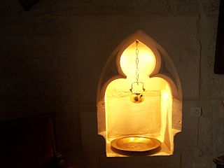 Lavabo device to provide water for the washing of hands, often for ecclesiastical use