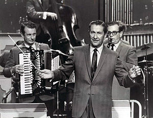 Myron Floren - Floren (left) with Welk (center) in 1969.