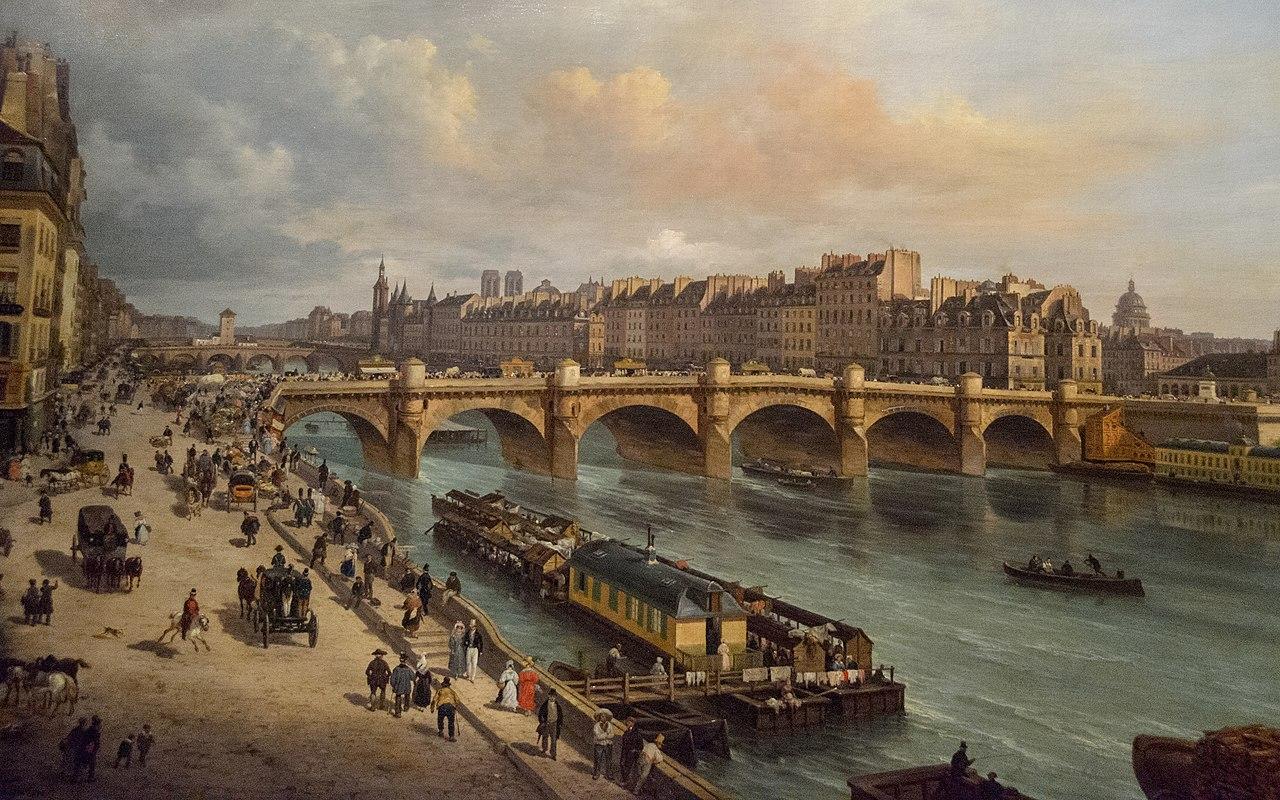 file le pont neuf et la cit paris 1832 giuseppe canella. Black Bedroom Furniture Sets. Home Design Ideas