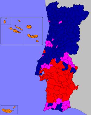Portuguese legislative election, 1979 - Image: Legislativas portuguesas de 1979 (Mapa)