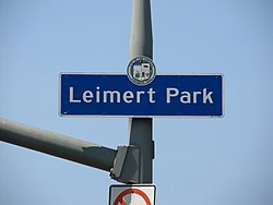 Leimert Park signage located on Leimert Boulevard immediately north of Vernon Avenue