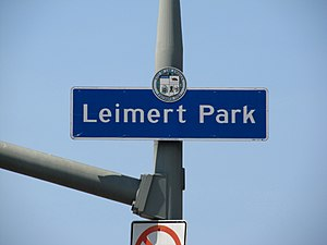 Leimert Park, Los Angeles - Leimert Park sign, located on Leimert Boulevard immediately north of Vernon Avenue