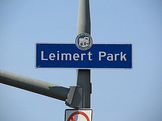 Leimert Park, Los Angeles - Leimert Park signage located on Leimert Boulevard immediately north of Vernon Avenue