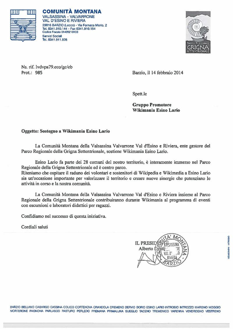 File:Letter of suppor to Wikimania Esino Lario by the Comunità montana della Valsassina Valvarrone Val d'Esino e Riviera.pdf