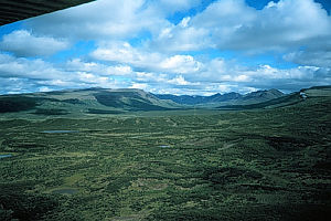 Level Mountain - A U-shaped valley of Level Mountain with extensive elevated plateau in the foreground