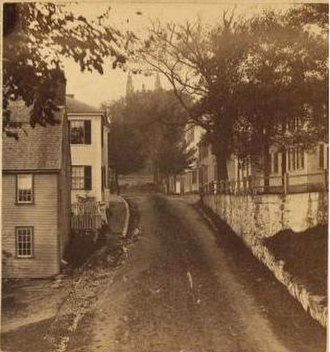 Leyden Street - Leyden Street in the 1800s from a period stereograph