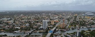 Little Havana - Aerial view of Little Havana, Miami River foreground, Marlins Park to the right, Coral Gables skyline in background, Coconut Grove and Biscayne Bay to the very left.