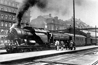 Stockholm Central Station - Ljungström locomotive at Stockholm Central Station (1922).
