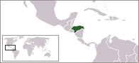 A map showing the location of Honduras