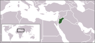 A map showing the location of Jordan
