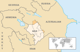Bishkek Protocol - The final borders of the conflict after the Bishkek Protocol. Armenian forces of Nagorno-Karabakh currently control almost 9% of Azerbaijan's territory outside the former Nagorno Karabakh Autonomous Oblast, while Azerbaijani forces control Shahumian and the eastern parts of Martakert and Martuni.